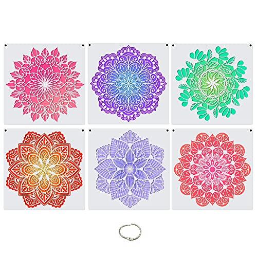 Large (12x12 inch) Mandala Pattern Stencils for Furniture Wall Floor Tile Fence Painting, Reusable Laser Mandala Templates, Sacred Boho Style, Set of 6