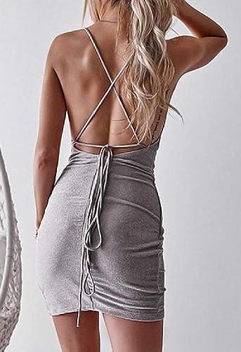 MJY Mode Femmes Bretelles Spaghetti Criss Sparkle Dos Ouvert Clubwear Robes De Bal,gris argenté,Grand