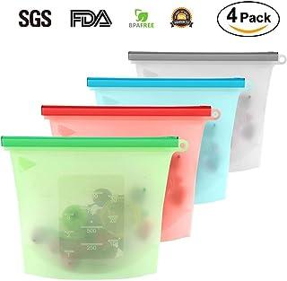 SLACTech Bolsa Silicona Reutilizable, Bolsa de Almacenamiento Preservación de Alimento Hermética para Fruta Sopa de Verduras Leche Carne