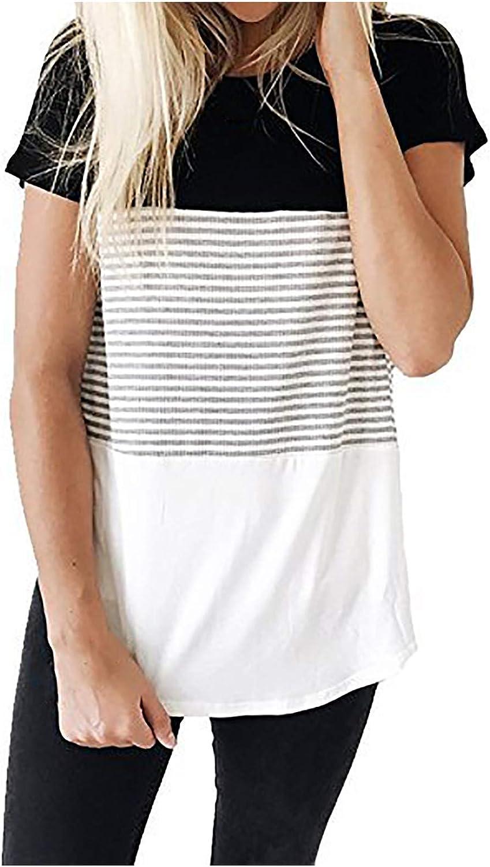 Women's Fashion Short Sleeve Cotton Top Stripe Nursing Maternity Round Neck Triple Color Block Stripe T-Shirt