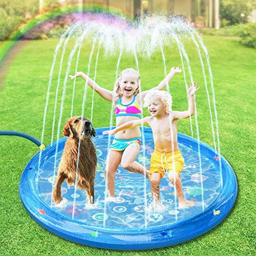 tomight Splash Pad, Sprinkler Play Matte mit Schwimmendem Fischspielzeug,Garten Wasserspielzeug Spielmatte für Outdoor 150CM für Baby, Kinder, Hund und Haustiere
