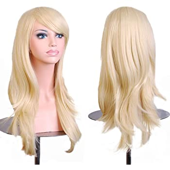 BERON Long Wavy Curly Wig High Standard Silk Female Cosplay Wig with Wig Cap (27'' Light Blonde)