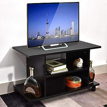 lyrlody Mueble de TV con Ruedas Mesa para Televisión Mesa TV Móvil Soporte para Multimedia Mueble Bajo de TV Color Negro, 80 x 40 x 40cm: Amazon.es: Hogar