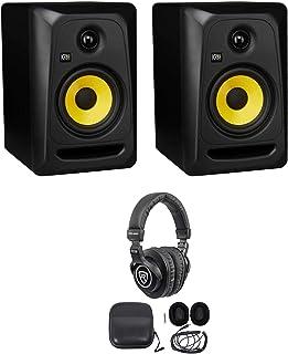 "(2) KRK CLASSIC 5 Studio Monitor 5"" Nearfield Powered Speakers+Pro Headphones"