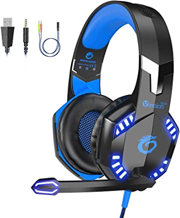 $27 Get VersionTECH. G2000 [Updated] Stereo Gaming Headset for Xbox One PS4 PC,Surround Sound Over-Ear Headphones with 50mm Drive Unit,Noise Cancelling Mic, LED Lights for Laptop, Mac,Nintendo Switch Game