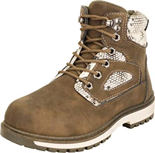 Cambridge Select Women's Hiking Work Faux Snake Colorblock Lace-Up Lug Sole Ankle Boot