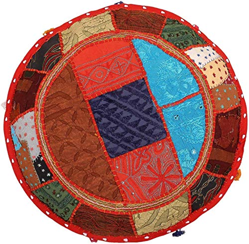 Janki Creation Indian Round Floor Decorative Cushion Cover Indian Vintage Patchwork Large Pillow Covers 100% Cotton Handmade Yoga Meditation Foot Stool (28'' x 28'')