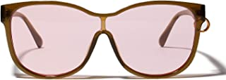 Sunglasses Fashion Accessories Temples Circled with Circle Shape Cat Accessories Sunglasses Personality Avant Piece Sheet Glasses (Color : Pink)