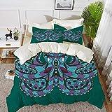 ropa de cama - Juego de funda nórdica, vintage, colorida maleta vintage Mapa de regalo de viaje decorativo de cuero...