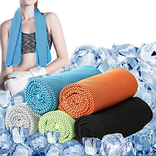 oADANNUo Cooling Towels for Neck 5 Pack - Ice Towel Chilly Cool Towel for Athletes, Instant Chill Cooling Cloth as Cool Rags for Neck Cooling Wrap, Neck Cooler, Cold Towel for Hot Weather