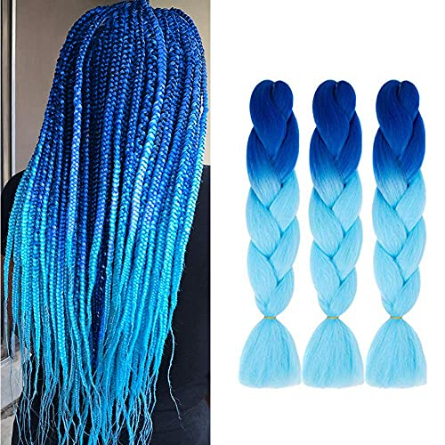Jumbo Braiding Hair synthetic Ombre Braiding Hair 3 Pack 24 Inch High Temperature Synthetic Crochet Braids Hair Extensions(Blue/Sky Blue)