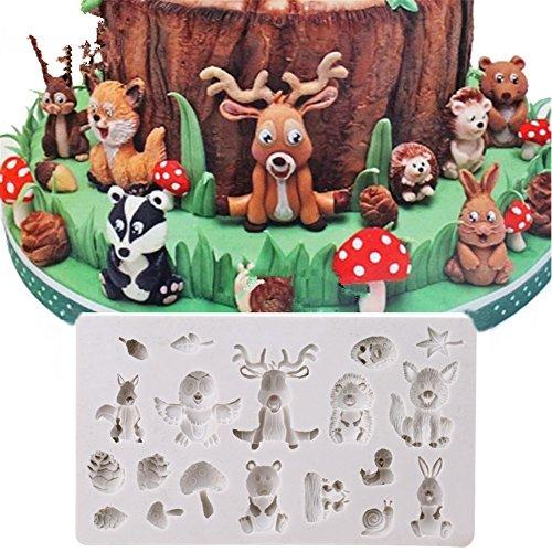 Timetries Wald Tiere Silikonform Muffin Schokolade Süßigkeiten Form Kuchen Dekorieren Werkzeuge DIY Backen Fondant Formen Silikon Kuchenform
