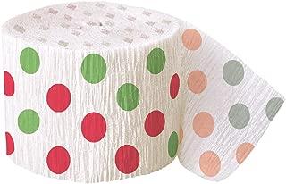 30ft Red & Green Polka Dot Christmas Crepe Paper Streamers