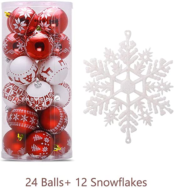 XISXI Shatterproof Painted Ball Ornaments For Christmas Tree 2 36 Plastic Decorative Xmas Pendant Small Ball For Home Party Wedding With 12Pcs White Snowflake Ornaments Red And White