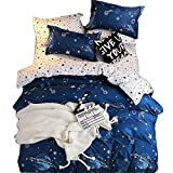 SkirtsFirst Boys Star Galaxy Planet Bedding Twin Duvet Cover Set Space Boundless Starlight Reversible Bedding Set,Microfiber,Zipper Closure,Space Theme Kids Quilt Cover(Space,Queen)