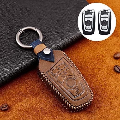 Custodia per chiave auto BMW con portachiavi, custodia protettiva per telecomando compatibile con BMW Serie 1 3 4 5 7 X1 X3 X4 X5 F30 F10 F20 Z4 520i M1 M2 M3, marrone