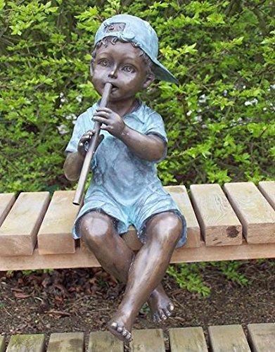 H. Packmor GmbH Bronzeskulptur Junge mit Flöte als Wasserspeier Teichdekoration Gartenfigur