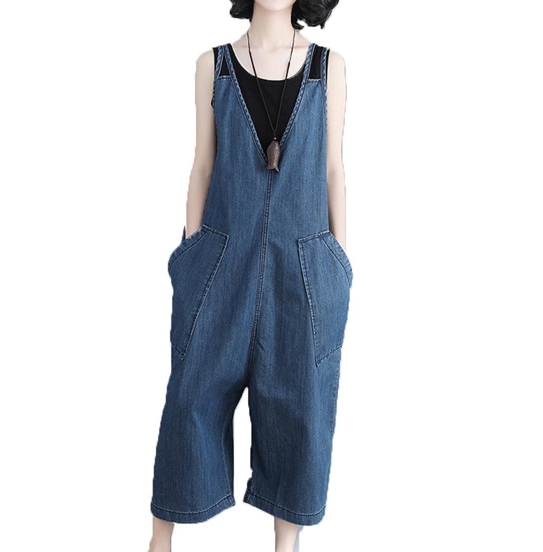 [美しいです] 夏 九分丈 学生 ゆったり カジュアルパンツ ビブパンツ ジャンプスーツ ファッション ジーンズ