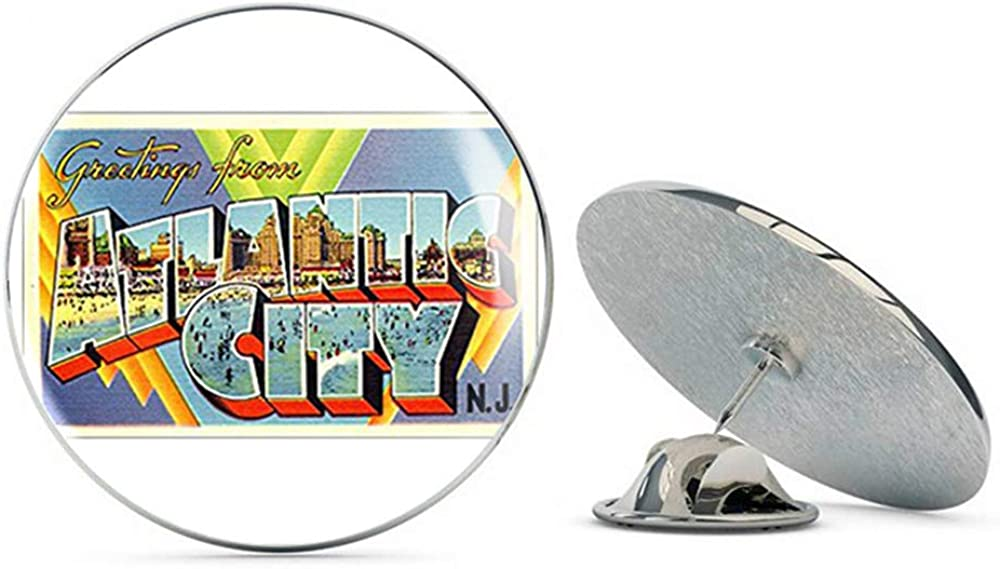 NYC Jewelers Greetings from Atlantic City (Vintage NJ Post Card Design) Metal 0.75