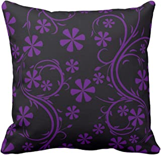 Floral Design Black and Deep Purple Flower Pattern Vintage Home Decor Throw Pillow Cover Pillow Case For Sofa, 20X20 Inch