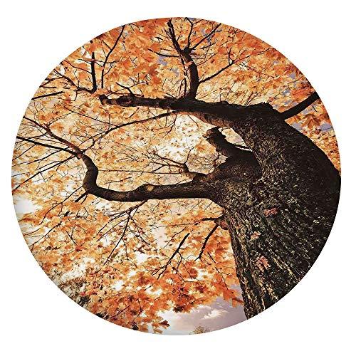 Mantel ajustable de poliéster con bordes elásticos, diseño de hojas de arce, para mesas redondas de 45 a 48 pulgadas, para comedor, cocina, fiesta, color naranja y marrón