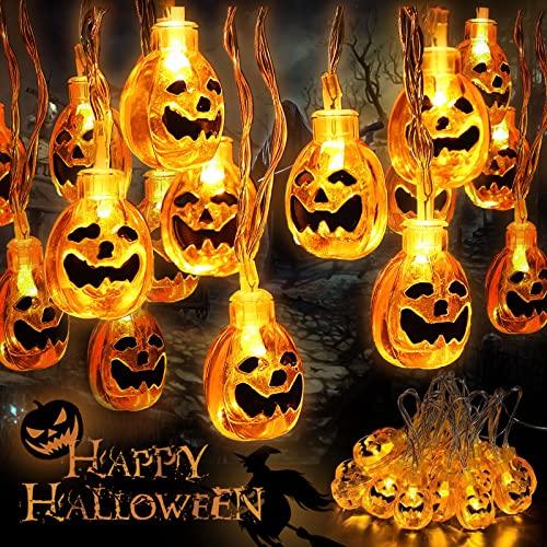 AMAYGA Calabaza Cadena de Luces Halloween 6m de Largo 40 LED Luces Guirnalda Luces de 3D LED con 2 modos de iluminación Decoración de Fiesta de Halloween Blanco Cálido