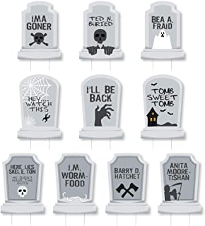 Big Dot of Happiness Funny Tombstones - Graveyard Lawn Decorations - Halloween Yard Decorations - 10 Piece