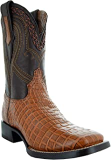 Soto Boots Men's Square Toe Caiman Print Cowboy Boots H7005