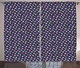 ABAKUHAUS Dessert Rustikaler Gardine, Konfetti Regen Cupcakes, Schlafzimmer Kräuselband Vorhang mit Schlaufen und Haken, 280 x 175 cm, Mehrfarbig