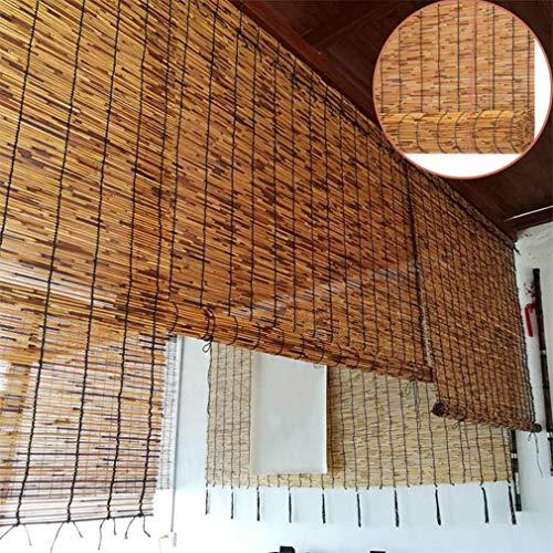 Natürliche Schilf Vorhang,Bambusrollos,Handgewebte Vorhänge,Retro-Karbonisierung Sonnenschutz Strohjalousien,Balkontrennwand,für Hintergrundwand,Außen/Innenbereich,Anpassbar (W125x320cm/W49x126in)