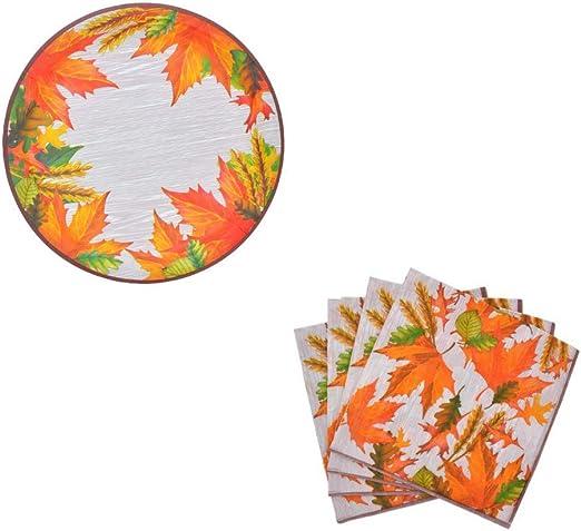 Vintage Harvest Paper Plates And Napkin Set Pumpkins Farmhouse 10x12 Platters