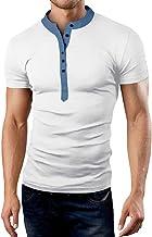 Henley Tee Men Long Sleeve Classic Fit Cotton Shirts Button V Neck Autumn