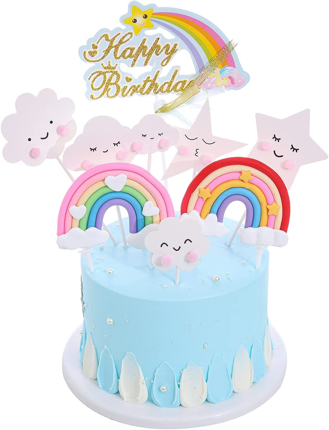 9pc cute Girl's favorite birthday cake decoration Happy Birthday Cake Topper Set, Include Rainbow Cloud Star for Birthday Wedding Party Cupcake Decoration