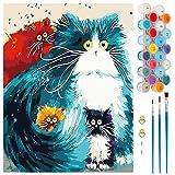 Pintar por Numeros, Pintura por Números Gato Colorido Kits, Cuadro Pintar con Numeros para Adultos/Niños, Pintar por Números Decoraciones para el Hogar (Sin Marco, 40x50CM)