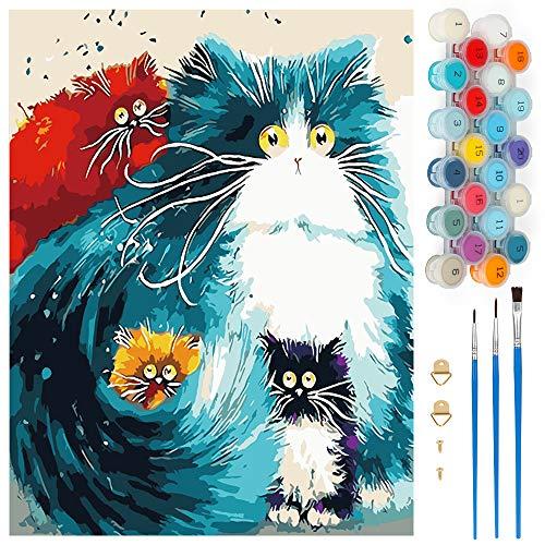 Wishstar Numéro d'Art, Peinture Numéro Chat DIY, Kits de Peinture au Numéro Loisir Creatif, Peinture par Numero pour Enfants/Adultes/Seniors, sans Cadre (40 x 50 CM)