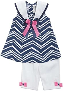 Little Girls' Navy White Zigzag Sailor Nautical Capri 2-pc outfit