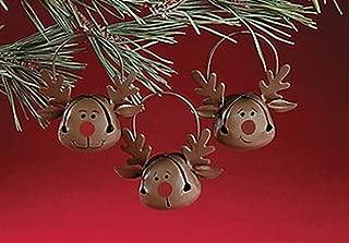 Fun Express Reindeer Jingle Bell Christmas Tree Ornaments - 12 Piece Set