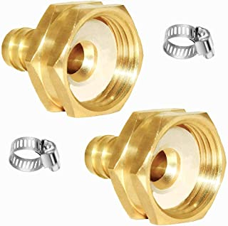 """Joywayus 2Pcs 1/2"""" Barb x 3/4"""" Female GHT Thread Swivel Hex Brass Garden Water Hose Pipe Connector Copper Fitting with Sta..."""