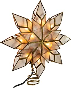 Kurt Adler 8.5-Inch Capiz Star Tree Topper with 10 Clear Lights and 1 Spare Bulb