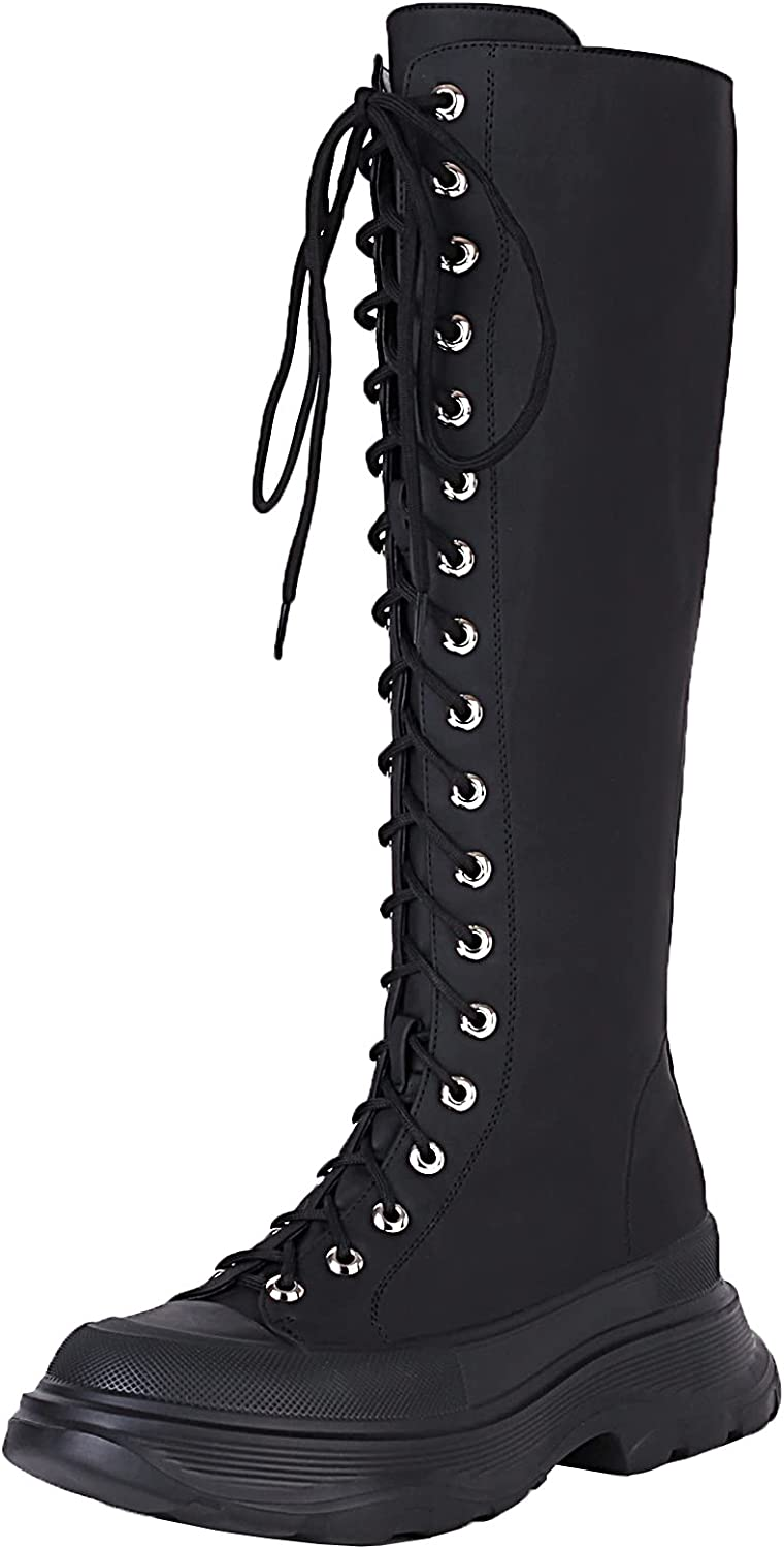 vivianly Women's Lace Up Knee High Boots Round Toe Chunky Platform Mid Calf Boots