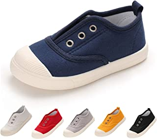 BENHERO Toddler Kids Boys Girls Candy Color Canvas Slip-On Shoes | Casual Sneaker Loafer Running Tennis Shoes | Fashion and Lightweight