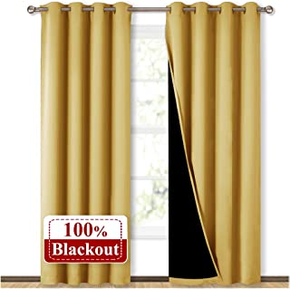NICETOWN 100% Blackout Curtains 95 inches Long, Super Heavy-Duty Black Lined Blackout Curtains for Girl's Room, Privacy Assured Heavy Drapes (Yellow, Pack of 2, 52 inches W x 95 inches L)