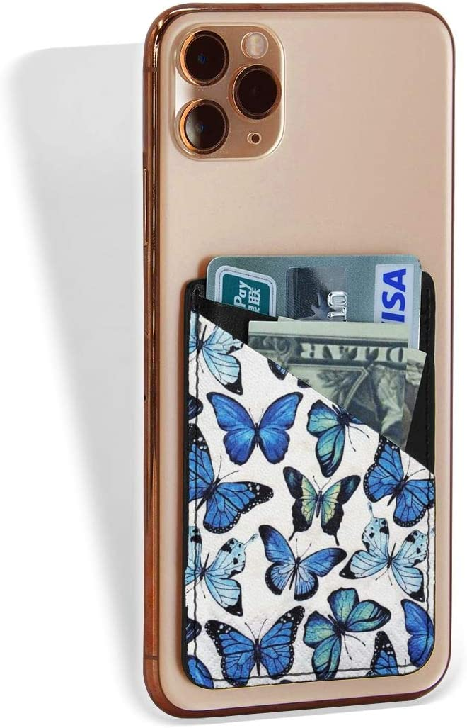 Cell Phone Card Holder Blue Butterfly Stick On Wallet Adhesive Pouch Sleeve Pocket for Credit Card Id Business Card fit Most of Smartphones(iPhone/Android/Samsung Galaxy)