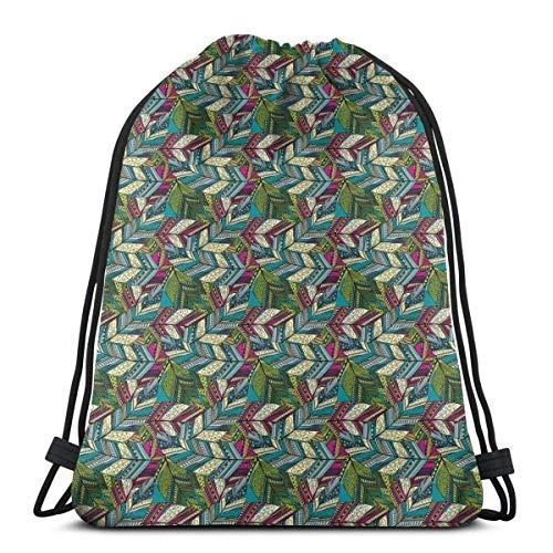 Sanme Kordelzug Rucksäcke Taschen, exotische Feder Muster buntes Design ethnische Motive Punkte und Wirbel Federkiel
