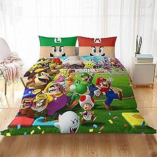 imprim/é 3D Digital 3 pi/èces Microfibre SSLLC Mario Game Parure de lit pour Enfant avec Housse de Couette et taie doreiller A01,Double 200x200cm