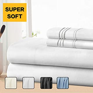COHOME Twin Bed Sheets Set 3 Piece, Microfiber 1800 Thread Count Luxury Egyptian Sheets-Stain Wrinkle Fade Resistant, Hypoallergenic 16 inch Deep Pocket Bedding Set (White)