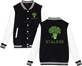 Unisex Funny Stalker Funny Broccoli Fun Humor Pun Logo Gift Baseball Uniform Jacket Coat Sweater Plus Velvet