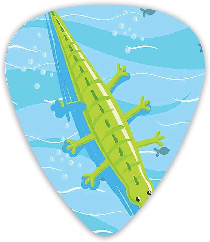 Variedad de 12 púas de guitarra, tema de vacaciones en la playa, cocodrilo, relajante, en agua de mar azul, colroful premium ambiental, ABS para guitarras eléctricas acústicas y bajos