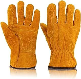 耐熱グローブキャンプグローブ レザーグローブ 手袋 アウトドア用 作業PU革手袋