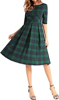 Women Half Sleeve A Line Dress Casual Plaid Midi Dress